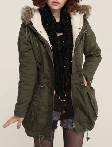 Casual Hooded Long Sleeve Pocket Design Women s Coat