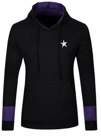 Buy Stylish Slimming Hooded Five-Point Star Embroidery Long Sleeve Cotton Blend Hoodie For Men