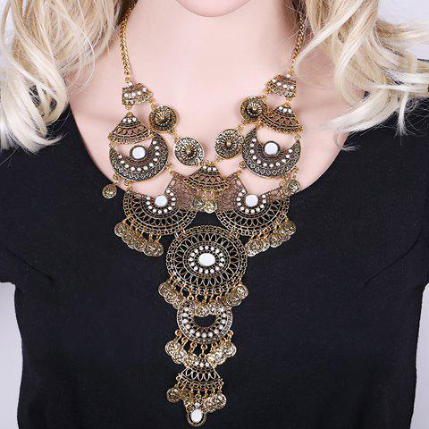 New Vintage Rhinestone Hollow Out Geometric Flower Coin Tassel Necklace For Women