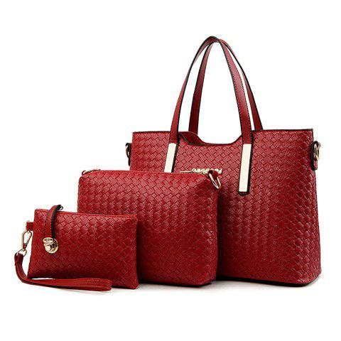 Hot 3Pc Metal Woven Tote Crossbody Clutch Set - WINE RED  Mobile