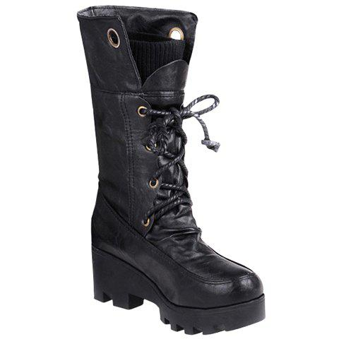 Online Stylish Ruched and Lace-Up Design Women's Mid-Calf Boots
