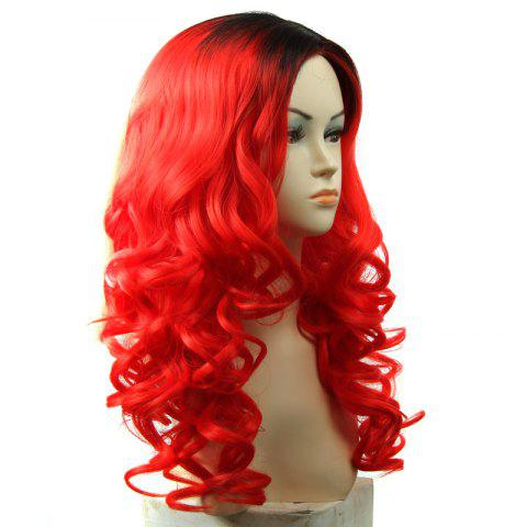 Cheap Black Ombre Red Shaggy Wavy Capless Long Attractive Synthetic Middle Part Wig For Women - OMBRE 1211#  Mobile