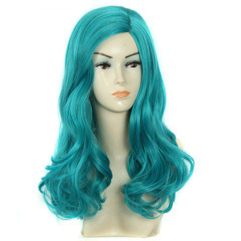 Sale Towheaded Wavy Long Synthetic Charming Fashion Mint Green Centre Parting Women's Wig