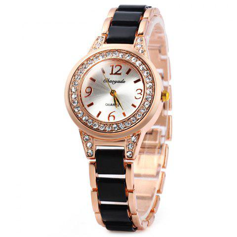 Discount Chaoyada Female Diamond Quartz Watch Steel + Plastic Strap