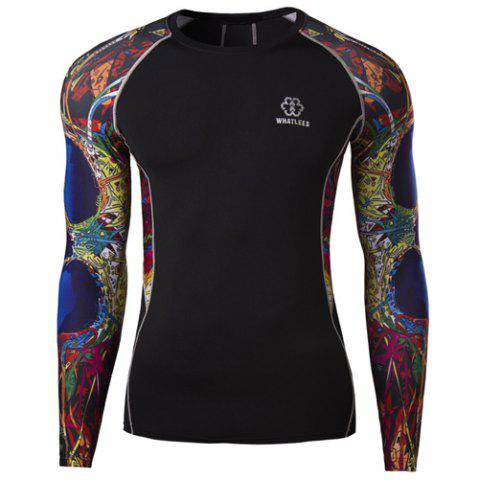 Shop 3D Abstract Printed Long Sleeves Suture Stripes Round Neck Men's Sweat Dry Tight T-Shirt - M BLACK Mobile
