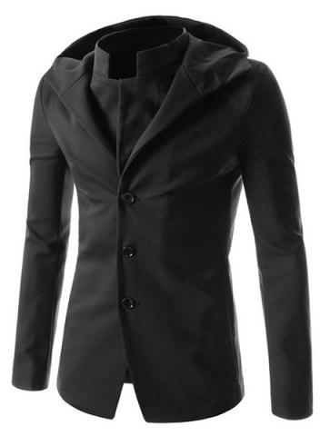 Latest Faux Twinset Hooded Zipper Cuffs Back Slit Solid Color Long Sleeves Men's Slimming Single-Breasted Coat