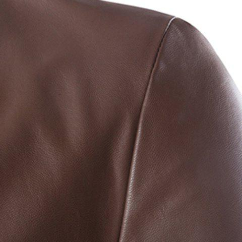 Latest One Button Single-Breasted Stereo Patch Pocket Side Slit Lapel Long Sleeves Men's PU Leather Coat - M COFFEE Mobile