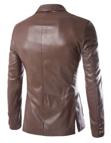 Chic One Button Single-Breasted Stereo Patch Pocket Side Slit Lapel Long Sleeves Men's PU Leather Coat - M COFFEE Mobile