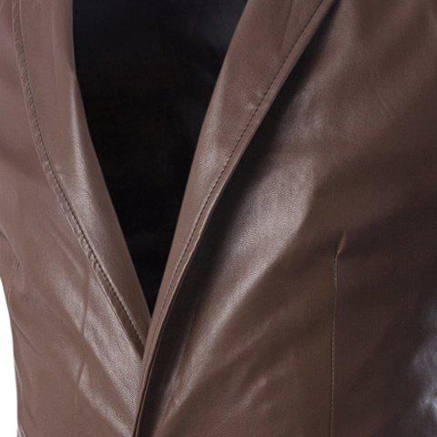 Shop One Button Single-Breasted Stereo Patch Pocket Side Slit Lapel Long Sleeves Men's PU Leather Coat - M COFFEE Mobile