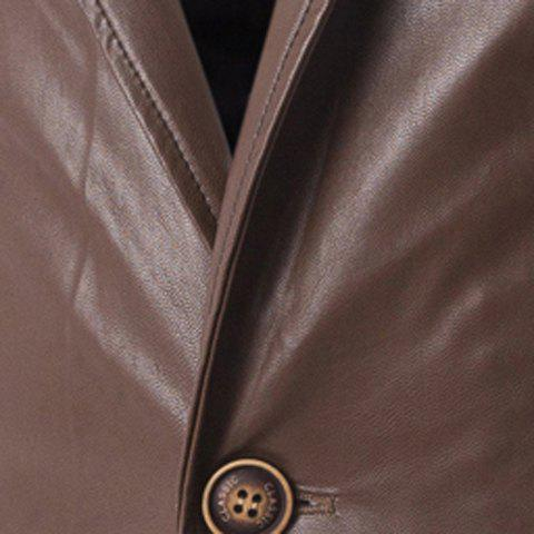 Unique One Button Single-Breasted Stereo Patch Pocket Side Slit Lapel Long Sleeves Men's PU Leather Coat - M COFFEE Mobile