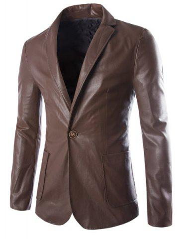 Outfit One Button Single-Breasted Stereo Patch Pocket Side Slit Lapel Long Sleeves Men's PU Leather Coat - M COFFEE Mobile