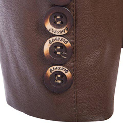 Best One Button Single-Breasted Stereo Patch Pocket Side Slit Lapel Long Sleeves Men's PU Leather Coat - M COFFEE Mobile