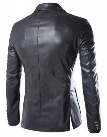 Buy One Button Single-Breasted Stereo Patch Pocket Side Slit Lapel Long Sleeves Men's PU Leather Coat - L BLACK Mobile