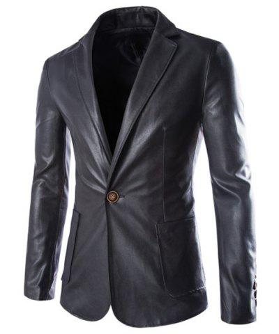 One Button Single-Breasted Stereo Patch Pocket Side Slit Lapel Long Sleeves Men's PU Leather Coat - BLACK 2XL