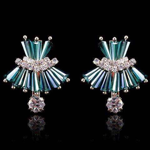Store Pair of Delicate Faux Crystal Decorated Dress Shape Earrings For Women