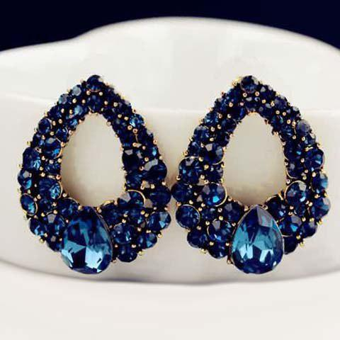 New Pair of Hollowed Faux Sapphire Waterdrop Earrings PURPLISH BLUE