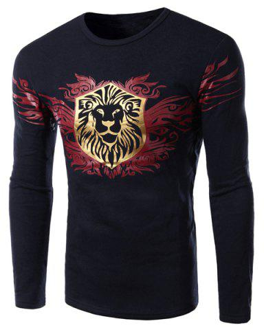 Personality Golden Cartoon Animal Print Hit Color Slimming Round Neck Long Sleeves Men's Flocky T-Shirt