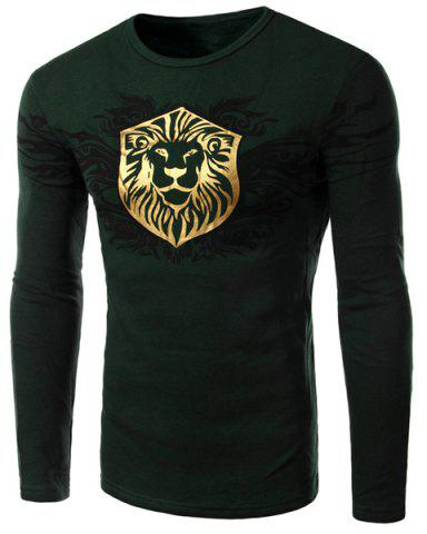 Fashion Personality Golden Cartoon Animal Print Hit Color Slimming Round Neck Long Sleeves Men's Flocky T-Shirt