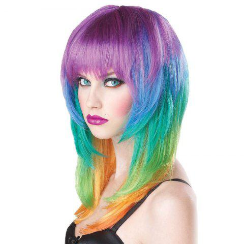 Fashion Fashion Full Bang Layered Long Straight Synthetic Charming Offbeat Rainbow Capless Wig For Women COLORMIX