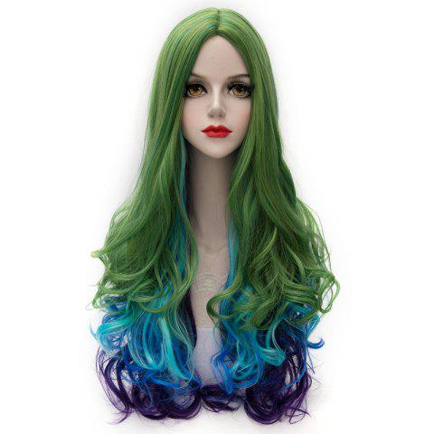 Latest Charming Synthetic Colorful Ombre Long Centre Parting Capless Fluffy Wavy Cosplay Wig For Women COLORMIX