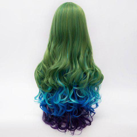 Outfits Charming Synthetic Colorful Ombre Long Centre Parting Capless Fluffy Wavy Cosplay Wig For Women - COLORMIX  Mobile