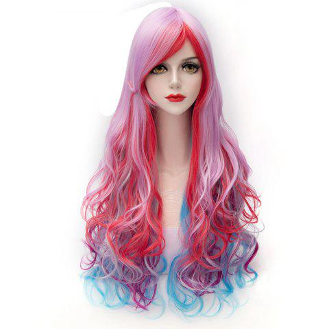 Best Towheaded Wave Inclined Bang Trendy Colorful Gradient Capless Long Synthetic Costume Wig For Women