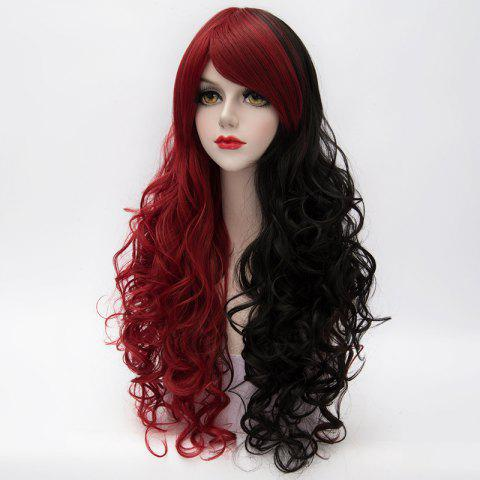 Latest Fluffy Curly Side Bang Red Splicing Black Capless Charming Fashion Long Synthetic Cosplay Wig For Women - COLORMIX  Mobile