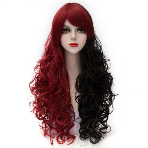 Fluffy Curly Side Bang Red Splicing Black Capless Charming Fashion Long Synthetic Cosplay Wig For Women - COLORMIX