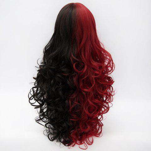 Buy Fluffy Curly Side Bang Red Splicing Black Capless Charming Fashion Long Synthetic Cosplay Wig For Women - COLORMIX  Mobile