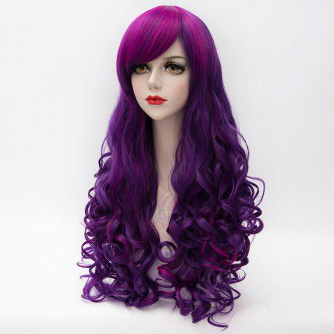 Shops Charming Inclined Bang Long Purple Highlight Capless Fluffy Curly Synthetic Cosplay Wig For Women - COLORMIX  Mobile