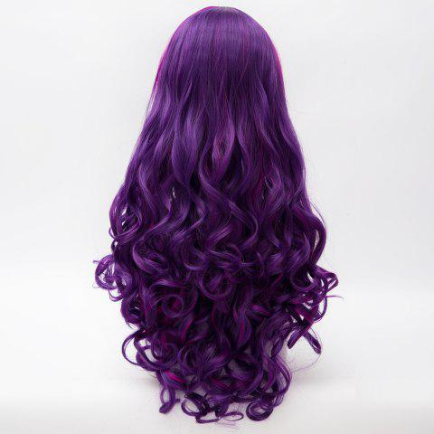 Sale Charming Inclined Bang Long Purple Highlight Capless Fluffy Curly Synthetic Cosplay Wig For Women - COLORMIX  Mobile