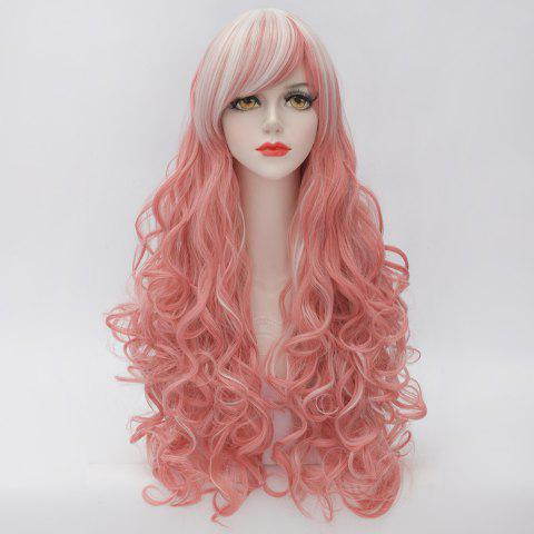 Shops Fluffy Curly Heat Resistant Fiber Highlight Long Gorgeous Inclined Bang Capless Women's Cosplay Wig