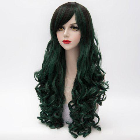 Store Shaggy Curly Long Capless Side Bang Trendy Black Mixed Blackish Green Synthetic Cosplay Wig For Women - COLORMIX  Mobile