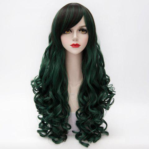 Chic Shaggy Curly Long Capless Side Bang Trendy Black Mixed Blackish Green Synthetic Cosplay Wig For Women COLORMIX
