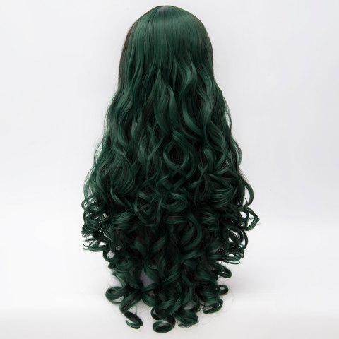 Shop Shaggy Curly Long Capless Side Bang Trendy Black Mixed Blackish Green Synthetic Cosplay Wig For Women - COLORMIX  Mobile