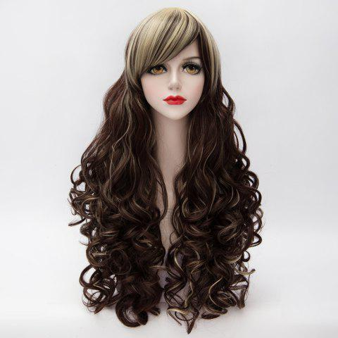 Store Charming Blonde Mixed Brown Capless Long Towheaded Curly Side Bang Synthetic Women's Cosplay Wig