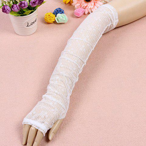 Outfit Pair of Chic Solid Color See-Through Long Lace Fingerless Gloves For Women