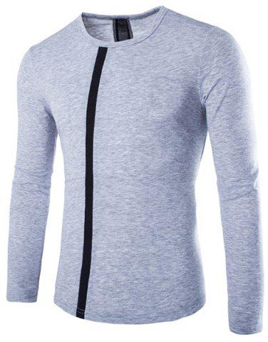 Buy Modern Style Slimming Round Neck Color Block Stripes Spliced Men's Long Sleeves T-Shirt