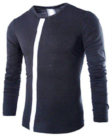 Shops Modern Style Slimming Round Neck Color Block Stripes Spliced Men's Long Sleeves T-Shirt