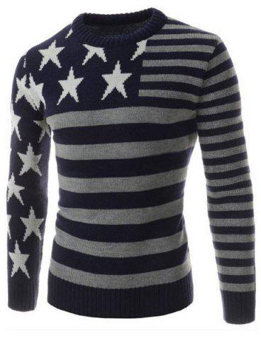 Affordable Classic Color Block Five-Pointed Star Intarsia Round Neck Long Sleeves Slim Fit Men's Striped Sweater