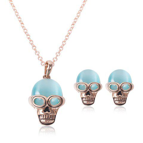 Buy A Suit of Characteristic Faux Opal Skull Necklace and Earrings For Women ROSE GOLD