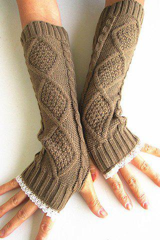 Unique Pair of Chic Rhombus and Lace Edge Embellished Knitted Fingerless Gloves For Women