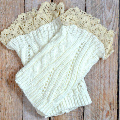 Sale Pair of Chic Lace Edge Solid Color Hollow Out Knitted Boot Cuffs For Women