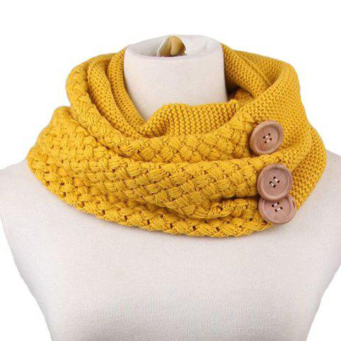 Shops Chic Big Loop  Infinity Buttons Embellished Knitted Turtleneck Warmer Scarf
