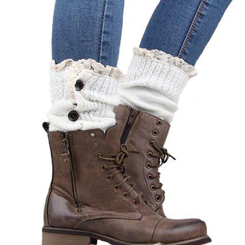 Best Pair of Chic Buttons and Lace Embellished Knitted Leg Warmers For Women