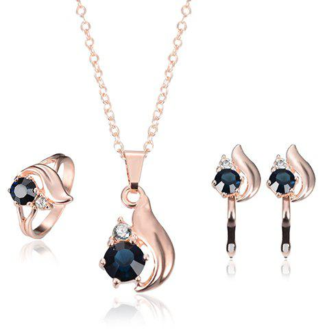 Hot A Suit of Rhinestone Alloy Necklace Earrings and Ring ROSE GOLD