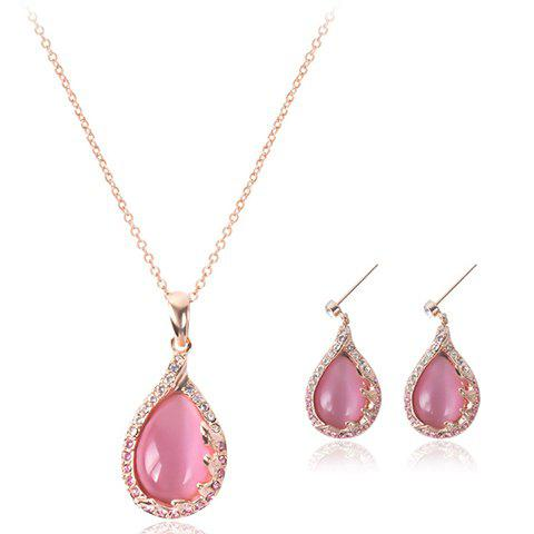 Chic A Suit of Waterdrop Faux Opal Rhinestone Necklace and Earrings