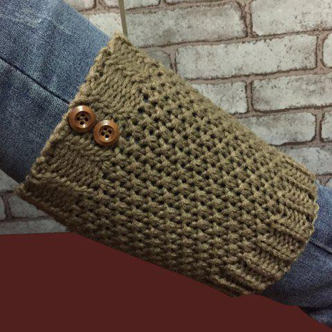 Chic Pair of Chic Two Buttons Embellished Hollow Out Knitted Boot Cuffs For Women