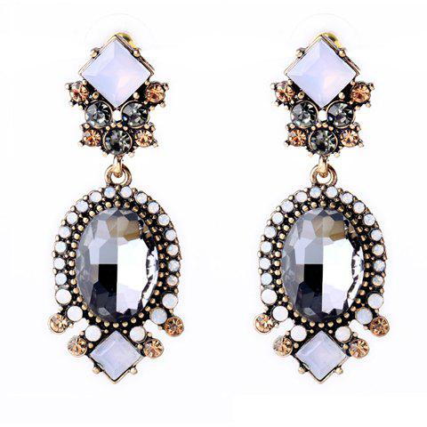 Shops Pair of Retro Faux Crystal Square Oval Drop Earrings