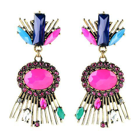 Outfit Pair of Vintage Rhinestone Oval Bar Earrings For Women